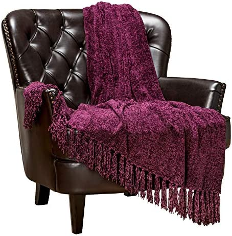 Best Chanasya Chenille Velvety Texture Decorative Throw Blanket with Tassels Super Soft Cozy Classy Elega