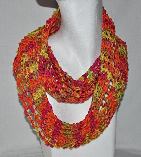 Gestrickter Sommerloop aus gekämmter, mercerisierter Baumwolle - Farbe orange/gelb/grün/pink