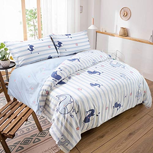 USTIDE Duvet Cover Breathable Comfortable Quilt Cover 100% Cotton Whale Print Teenagers Quilt Cover Girls Boys Fashion Bedding Set King Size Soft Comfortable Quilt Cover 3 Pieces for Home Dorm