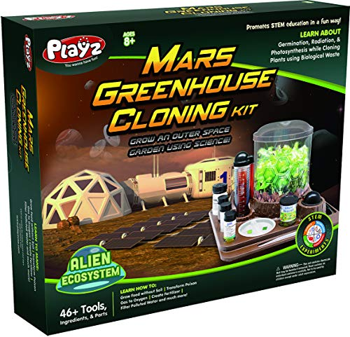 Playz Mars Greenhouse Cloning Kids Science Kit, Grow an Outer Space Indoor Garden with Multiple Kid STEM Science Experiments, Garden Kit for Kids, Toys for 8-12 Year Old Girls and Boys