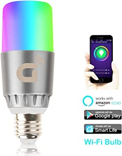 Smart Led Light Bulb, Wi-Fi Smart Bulbs 6000K Dimmable Color Changing Smartphone Controlled Daylight White Night Light, No Hub Required, Works with Amazon Echo Alexa Google Home (13K)