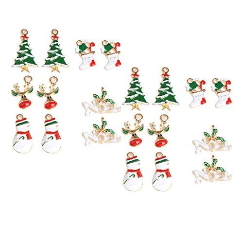 Colcolo 20 Piezas Colgantes de Esmalte de Metal de Navidad Encantos Navidad Santa árboles Muñeco de Nieve Acebo