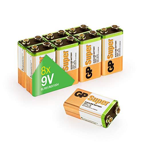 GP 9V Block Batterien (6LR61, MN1604, 9V E-Block) 9 Volt Block Super Alkaline, 9V Block geeignet für vielseitige Anwendungen (8 Stück Blockbatterien 9V in briefkasten-geeigneter Verpackung)