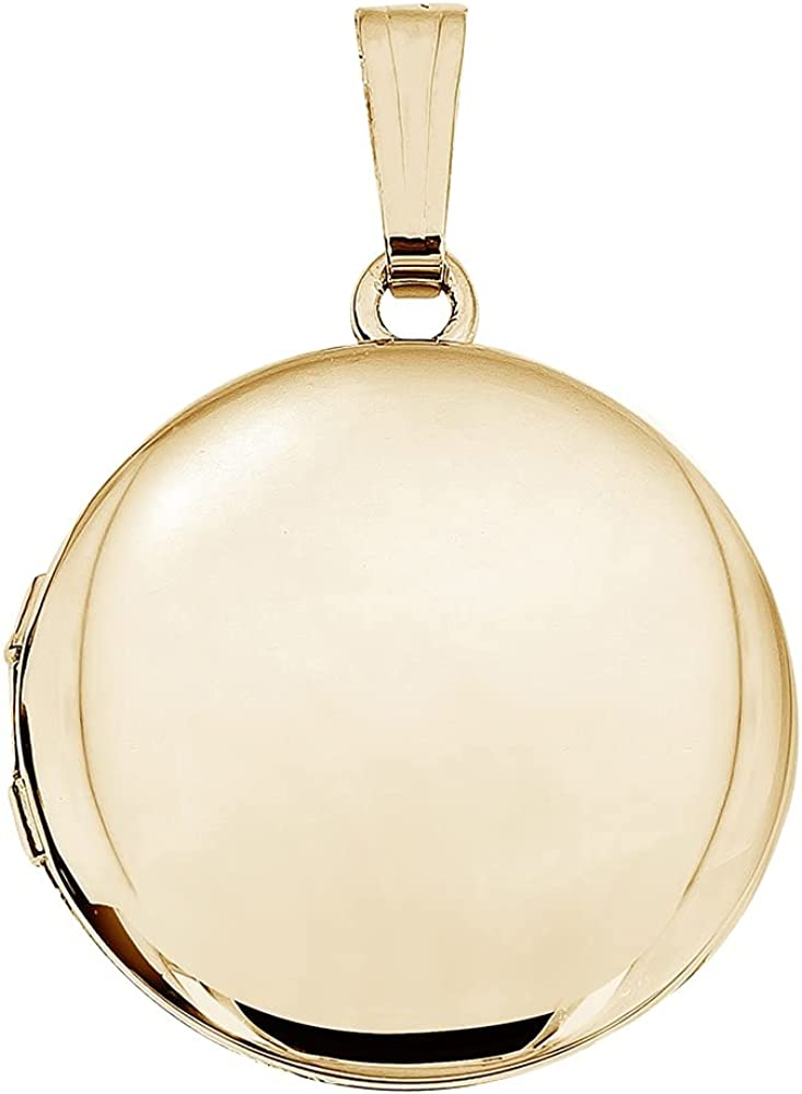 Solid 14k Yellow Gold Round Yellow Picture Locket - 3/4 Inch X 3/4 Inch and 1 Inch X 1 Inch