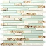 Beach Style Glass Tile Mother of Pearl Shell Resin Kitchen Backsplash Green Lake White Stone...