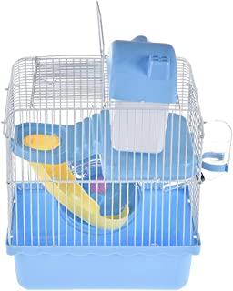 Klatka dla chomika dwupokładowy mały kastelet gniazdo dla zwierząt domowych domek dla myszy z dyskiem slajdów butelka do w...