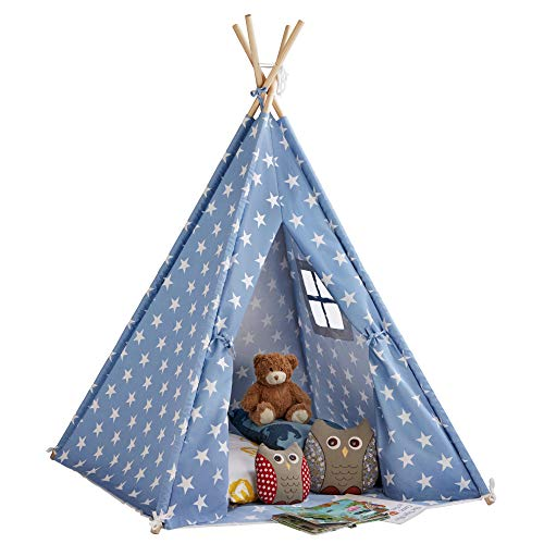 My Play Children's Teepee Tent Kids Tepee Play House with Window & Floor Mat, Indoor/Outdoor Use Cotton Canvas 158 cm Tall (Blue Stars)