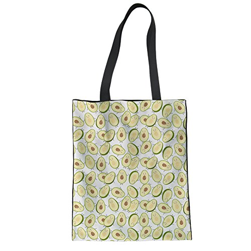 HUGS IDEA Cute Avocado Print Travel Shoulder Bag Shopping College Protable Tote Bag