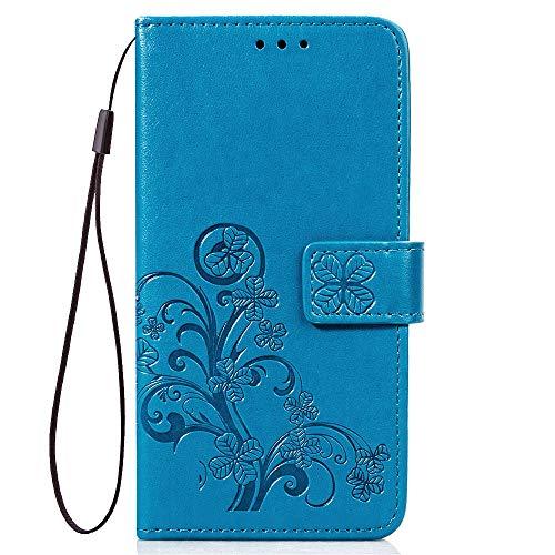 LAGUI Funda Adecuada para Xiaomi Redmi Note 7/ Note 7 Pro, Relieve Dibujo Carcasa de Tipo Libro, Azul