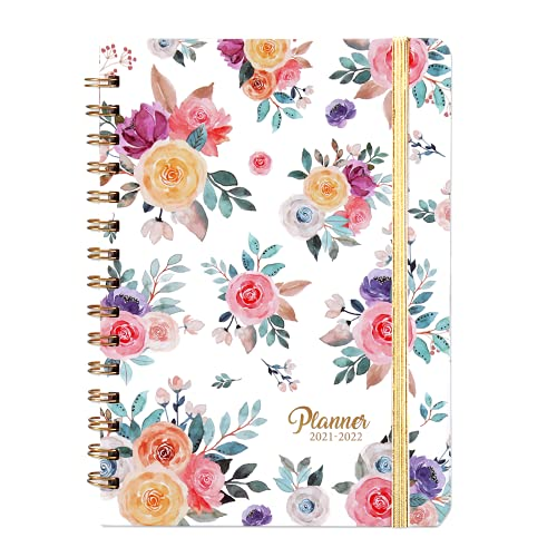 """2021-2022 Planner - Academic Weekly & Monthly Planner July 2021 - June 2022 with Flexible Hardcover, 8.5"""" x 6.37"""", 12 Monthly Tabs, Strong Twin- Wire Binding, Inner Pocket,Elastic Closure"""