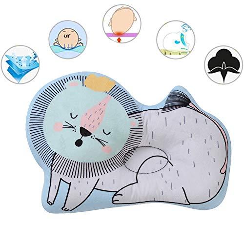 Cabeza plana Almohada bebé bebé Cabeza Shaping Almohada - síndrome de la cabeza plana Prevenir - infantil de almohadas para dormir para los recién nacidos, respirable y suave, León lindo