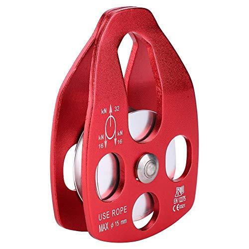 Carrucola per Arrampicata Carrucole per Uso Generale Piccole Funi in Alluminio per Attrezzatura da Discesa(Rosso)