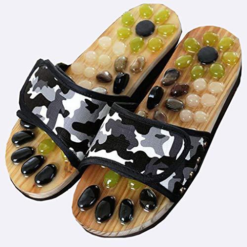 Life HS Fuß Akupressur Schuhe gesunde natürliche Kopfsteinpflaster Shiatsu Massage Hausschuhe Männer und Frauen Hausschuhe Sommer Tai Chi Schuhe,Black,XL