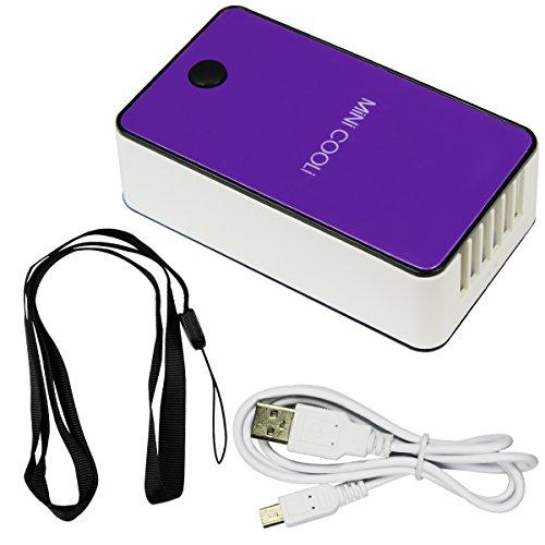 Mini condizionatore d'aria di viaggio Handheld USB ricaricabile ventilatore per l'estate di raffreddamento (Purple)