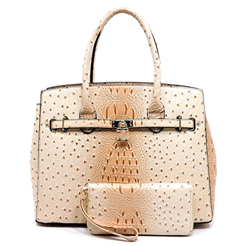 2Chique Boutique Women's Ostrich Croc Padlock 2 in 1 Satchel