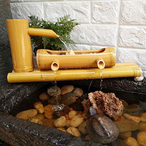 YXYOL Fischtank Pool Befeuchtung Filter Bambus Wasserbrunnen und Pumpe, Garten Dekor Handwerk Brunnen Entspannung Gartenarbeit Bambus Modell Villa Courtyard Landschaftsgestaltung Dekoration