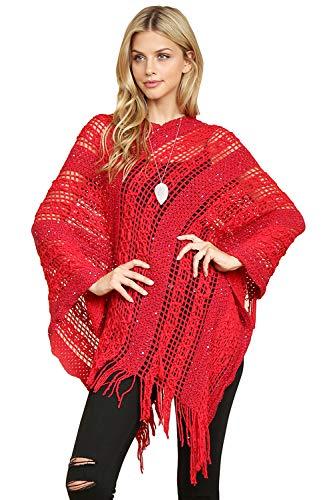 Bohemian Sequin Glitter Shawl Wrap Poncho - Kimono Cardigan, Sparkly Metallic Mesh Scarf, Open Knit Crochet Sweater Cape (Crochet Pullover Poncho - Red)