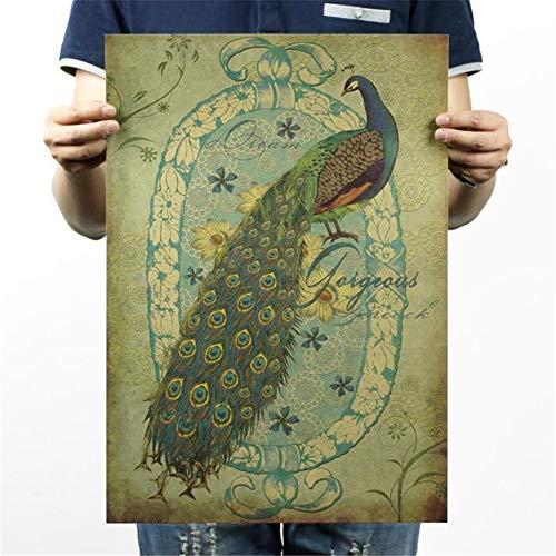 shuxuanltd Poster Vintage Plakat Kunstplakat Kunstdrucke Poster Art-Deco-Plakate Und Handbemalter Pfau/A-Stil/Nostalgisches Retro/Werbeplakat/Bardekorationsmalerei 01