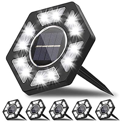 Karvipark Solar Ground Lights, LED Garden Lights Solar Powered Patio Outdoor Lights Waterproof In-ground Landscape Lighting for Yard Lawn Deck Pathway Walkway Driveway (6 Pack)