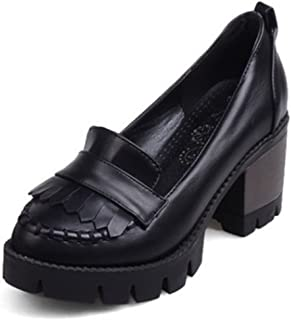 Women's Vintage Tassels Low Top Platform Mid Chunky Heels Slip On Oxfords Office Shoes