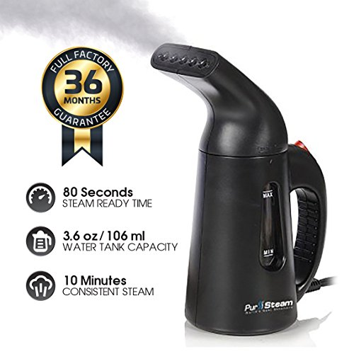 PurSteam Elite 850 Watt Garment & Fabric Steamer - Compact Size with Full Size Power - for Home & Travel - Black