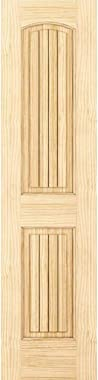 2-Panel Door, Interior Door Slab, Solid Pine, Arch Top, V-Grooves (18x80)