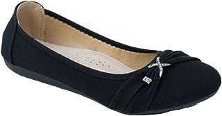 5896abef66cc00 Primtex Ballerines Femme Noir ou Blanc Souples Boucle argentée Strass-