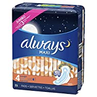 ALWAYS Maxi Size 4 Overnight Pads with Wings Unscented, 33 Count
