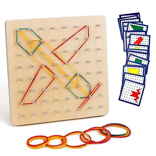 Jooheli Holz Geoboard Set, Holz Geoboard Spielzeug, Geometriebrett Montessori Holz Spielzeug für Kinder, Inspirieren die Phantasie und Kreativität des Kinders