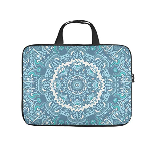 Personalized Laptop Sleeve Psychedelic Blue Bohemian Mandala Double-Sided Printed Tablet Sleeve Portable Neoprene Tablet Handbag for Teen Students White 15inch