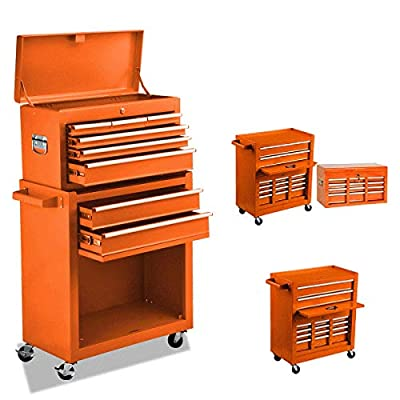 8-Drawer Rolling Tool Chest Portable Removable Tool Cabinet, Tool Storage Box Big Tool Chest with 4 Wheels and Sliding Metal Keyed Locking System Drawers(Orange)