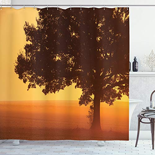 ABAKUHAUS Baum Duschvorhang, Land Bauernhof Sonnenaufgang, mit 12 Ringe Set Wasserdicht Stielvoll Modern Farbfest & Schimmel Resistent, 175x200 cm, Orange Braun