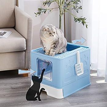 Suhaco Bac à Litière Pliable pour Chat, Grande Maison de Toilette Chat avec Couvercle, Bac de Portable Tiroir et Pelle à Litière (51 x 41 x 38 cm Bleu)