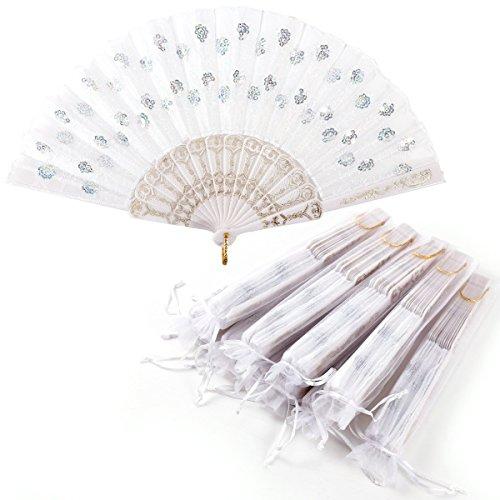 Surepromise 10er Handfächer Taschenfächer Klappfächer Stofffächer Weiß Kunststoff mit 10 Organzabeutel für Hochzeit Party Gastgeschenk