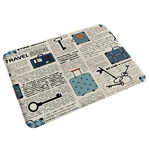 RUGSMAT Microfiber Bath Mat Rug,Retro Style Travel Vacation Theme Vintage Suitcases Keys Dot Text,Washable Comfortable Floor Mats Carpet for Bathroom 29.5' X 17.5'