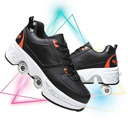 Patines De Ruedas para Ninos Ajustables Zapatos De Deformación De Doble Fila para Patines Caminar Zapatos De Patinaje Unisex,Black Orange,38