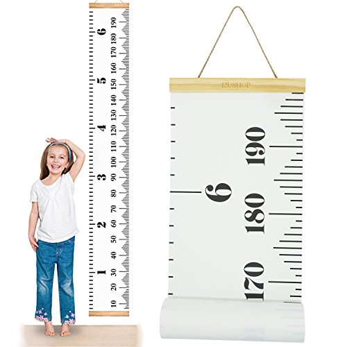 I2USHOP Baby Growth Chart Handing Ruler Wall Decor for Kids Room, Canvas Removable Height Growth Chart 79' x 7.9' (Black & White)