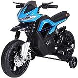 HOMCOM Moto électrique pour Enfants 25 W 6 V 3 Km/h Effets Lumineux et sonores roulettes Amovibles Bleu