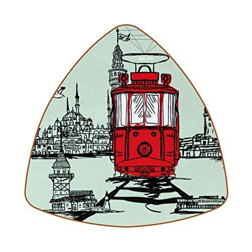 Istanbul Tram Graphic Design Juego de 6 Posavasos para Bebidas para el...