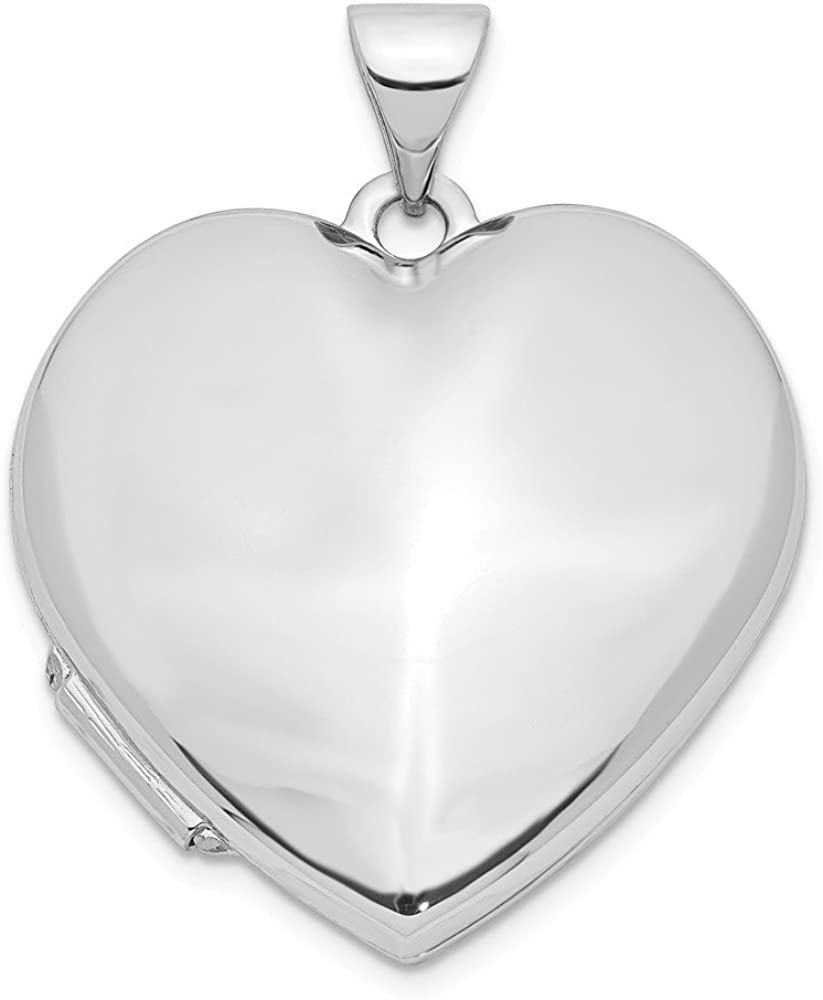 Finejewelers 14k White Gold Polished Heart-Shaped Domed Locket Pendant Necklace 18 inch Chain Included