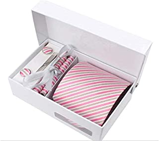 Arabia style 8.5cm Waterproof necktie set with 6 pcs pink stripe men business formal marriage for male for gift