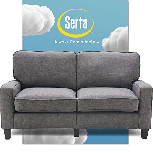 "Serta Palisades Upholstered Sofas for Living Room Modern Design Couch, Straight Arms, Soft Fabric Upholstery, Tool-Free Assembly, 61"" Loveseat, Gray"