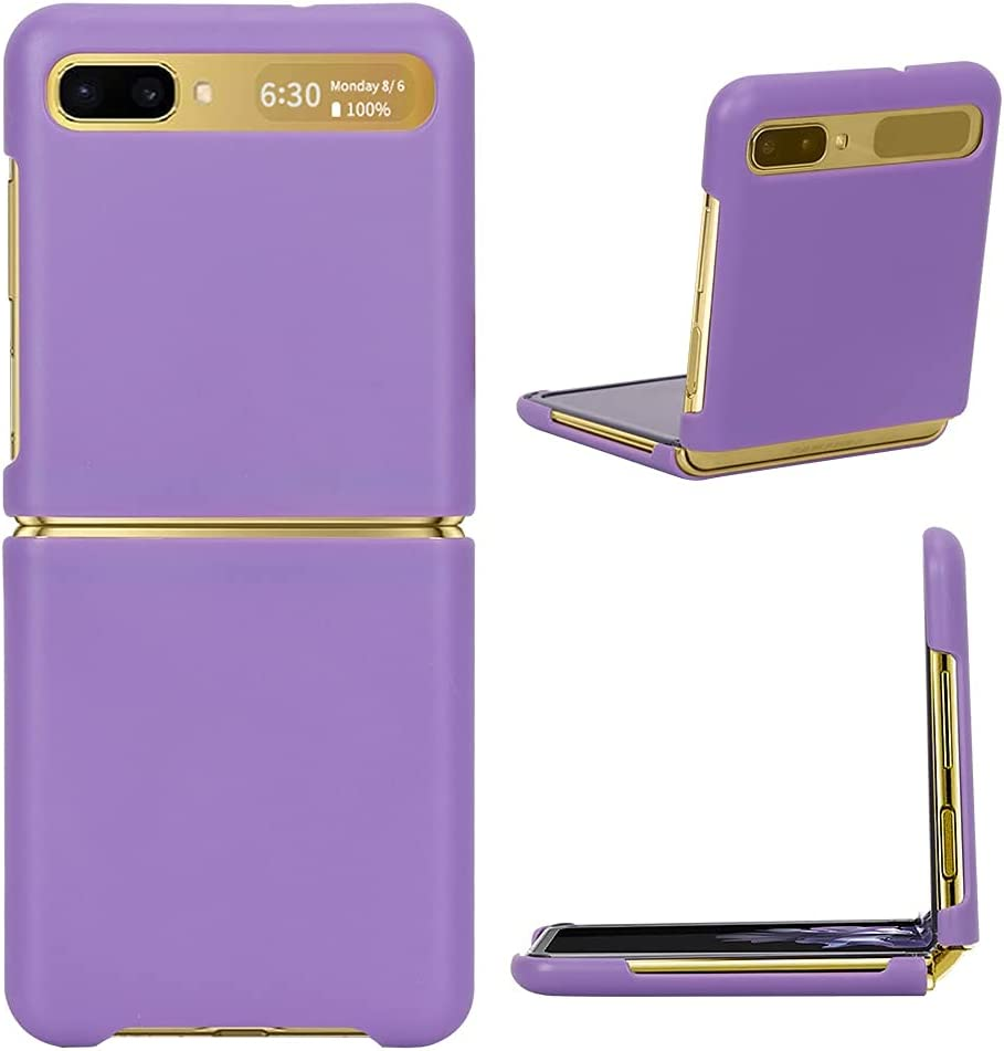 FYY Case for Samsung Galaxy Z Flip, PU Leather Pattern Hard Phone Cover Ultra-Thin Protective Case for Samsung Galaxy Z Flip 6.7 inch 2020-Purple