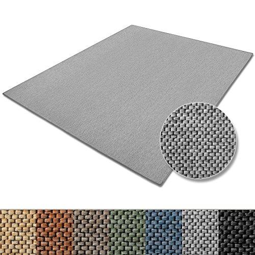 casa pura Teppich Sabang | viele Farben und Größen | Flachgewebe, Sisaloptik | Qualitätsprodukt aus Deutschland | GUT Siegel | für Wohnzimmer, Kinderzimmer, Flur etc. (Silber, 300x400cm)