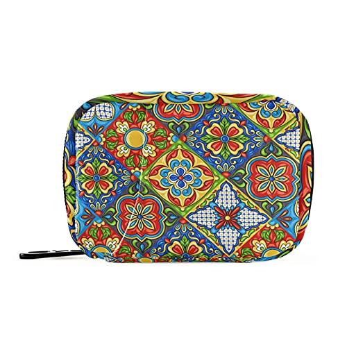 Cozyhome - Scatola portapillole per 7 giorni, stile vintage, messicano, Talavera, in ceramica italiana, 8 scomparti