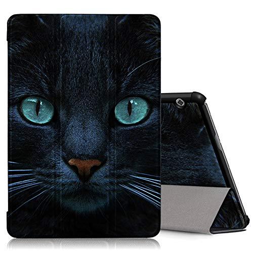 ZhuoFan Huawei Mediapad T5 10 Hülle, Schlanke Leicht Hülle Tasche Ständer Schutzhülle mit Muster Motive Cover für Huawei T5 10,1 Zoll Tablet, Katze