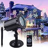VIFLYKOO Luces Proyector de Navidad,Lámpara de Proyección de Nieve Efecto de Nieve Iluminación Navideña Impermeable con Control Remoto para Interiores y Exteriores, Navidad,Vacaciones,Bodas