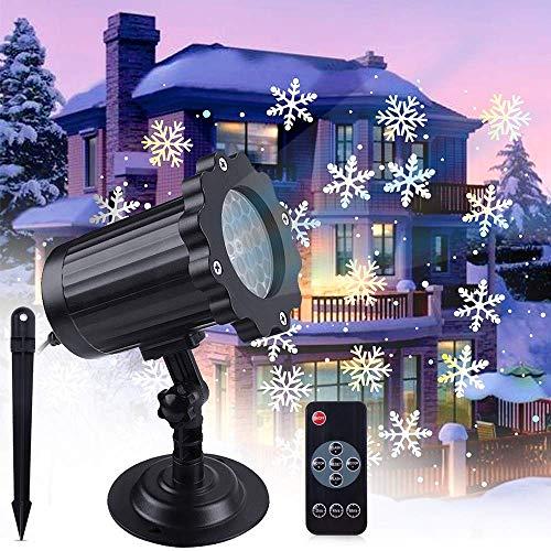 VIFLYKOO LED Projektionslampe,LED Schneeflocke Projektorlampe IP65 Wasserdicht Snowflake Projektor Schneefall Lichter Effekt mit Fernbedienung Dekoration für Weihnachten, Party, Hochzeit