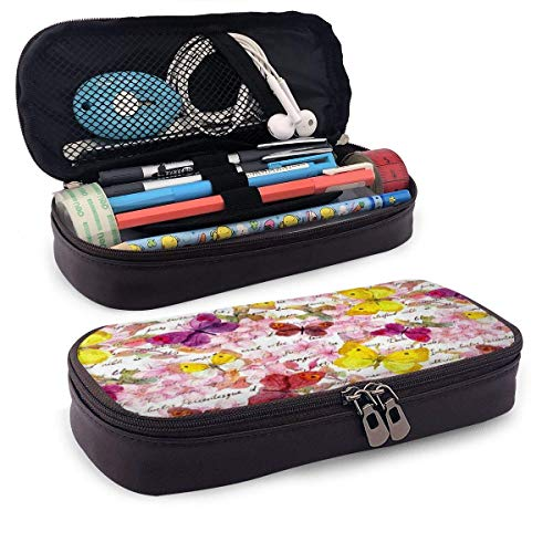 Lawenp Watercolor Flowers Butterflies and Hand Written Text PU Leather Pencil Pen Bag Pouch Case Holder Middle High School Student Cosmetic Makeup Bag