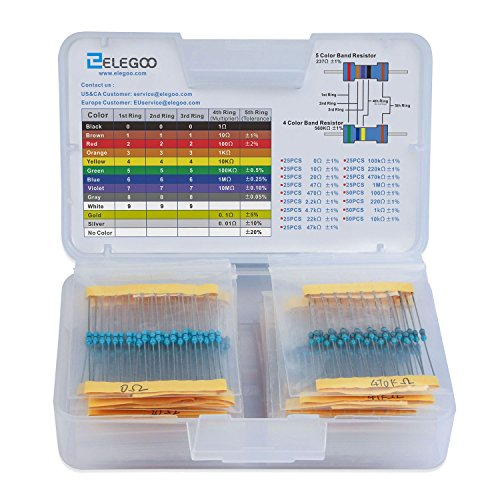 Elegoo 17 Values 1% Resistor Kit Assortment, 0 Ohm-1M Ohm (Pack of 525)
